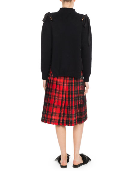 Pleated Plaid Knee-Length Skirt w/ Bow Details