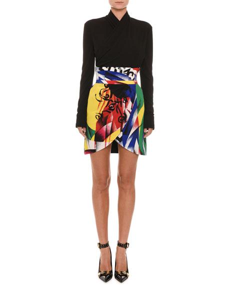Faux-Wrap Long-Sleeve Bodysuit