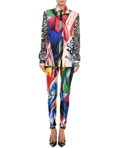 Clash-Print Button-Front Long-Sleeve Silk Blouse and Matching Items