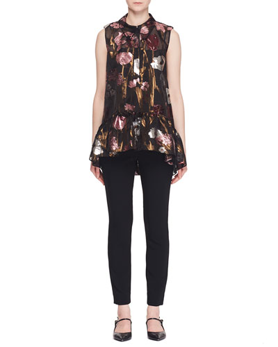 Sleeveless Metallic-Floral Fil Coupe Babydoll Top w/ Shirt Collar  and Matching Items