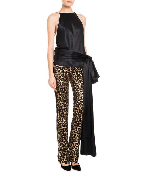 Sleeveless Oversized-Tie Open-Back Silk Blouse w/ Strass Crystal Border