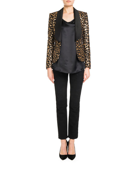 Shawl-Lapel Leopard-Print Sequins Smoking Blazer
