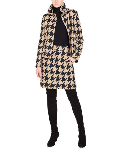 Ruched Stand-Collar Zip-Front Macro-Houndstooth Jacquard Jacket and Matching Items