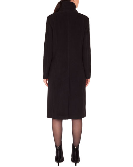 Stand-Collar Side Zip Seams Midi-Length Cashmere-Blend Coat
