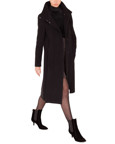 Stand-Collar Side Zip Seams Midi-Length Cashmere-Blend Coat  and Matching Items