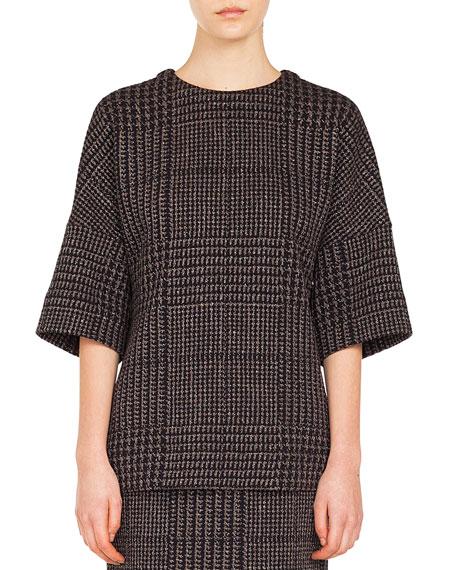 Turtleneck Long-Sleeve Back-Zip Knit Sweater