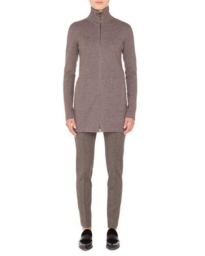 Turtleneck Zip-Front Melangé Knit Long Cardigan  and Matching Items