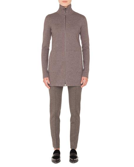 Turtleneck Zip-Front Melange Knit Long Cardigan