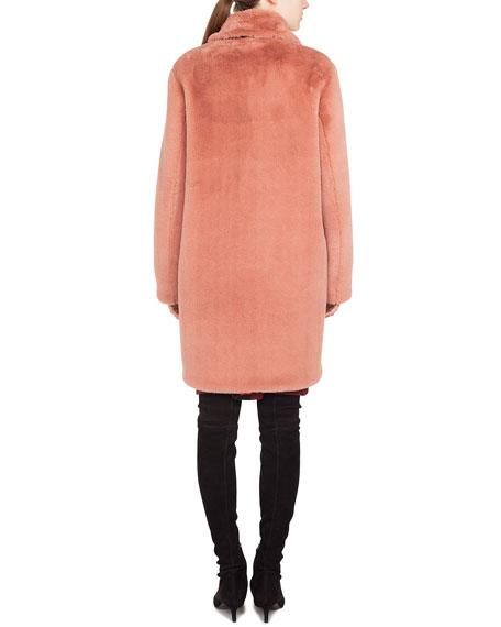 Spread-Collar Zip-Front Faux-Fur Coat
