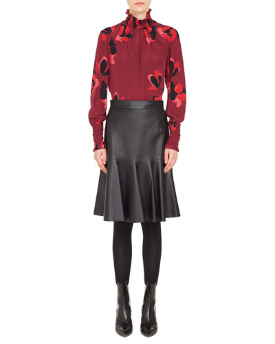 Smocked Turtleneck Long-Sleeve Anemone Floral-Print Silk Blouse and Matching Items