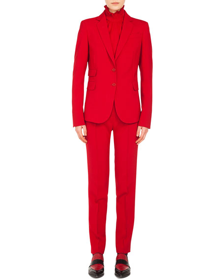 Notched-Lapel Two-Button Stretch-Crepe Blazer