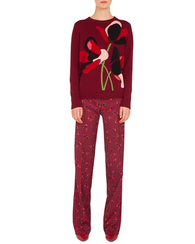 Floral-Print Straight-Leg Wool Trousers and Matching Items