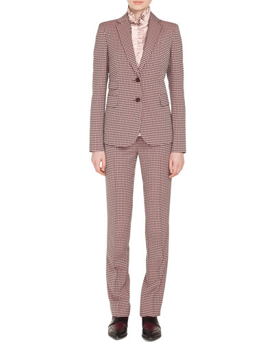 Two-Button Houndstooth Jersey Blazer and Matching Items