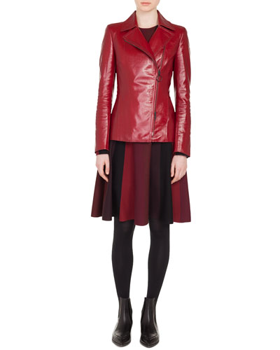 Zip-Front Patent Leather Biker Jacket and Matching Items