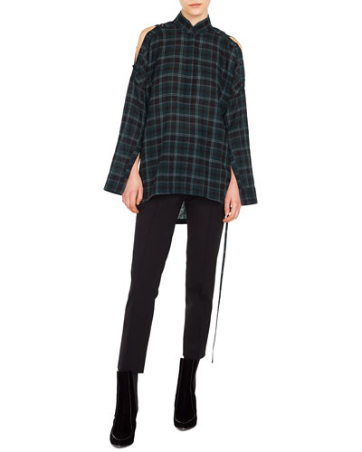 Button-Front Long-Sleeve Brit-Check Wool Blouse and Matching Items