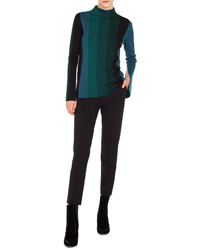 Turtleneck Slit Long-Sleeve Striped Wool Knit Top and Matching Items