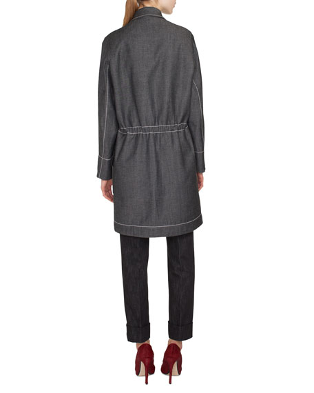 Tate Zip-Front Denim Parka Jacket w/ Topstitching