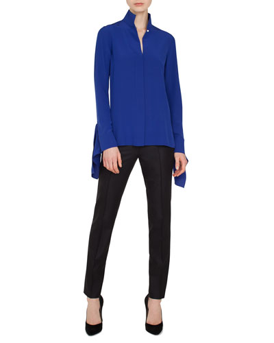 Mock-Neck Button-Front Silk Blouse  and Matching Items