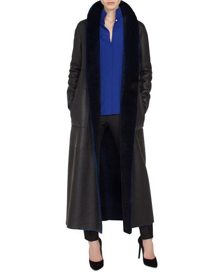 Trinity Snap-Front Long Reversible Shearling Coat