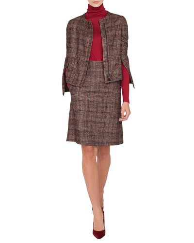 Stan Zip-Front Round-Neck Wool-Silk Plaid Jacket and Matching Items