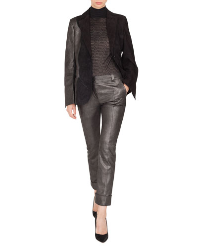 Seth One-Button Suede Patchwork Leather Jacket and Matching Items