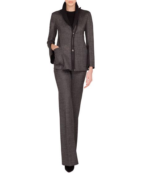 Sean Zip-Front Stretch-Wool Tweed Jacket w/ Patch Pockets
