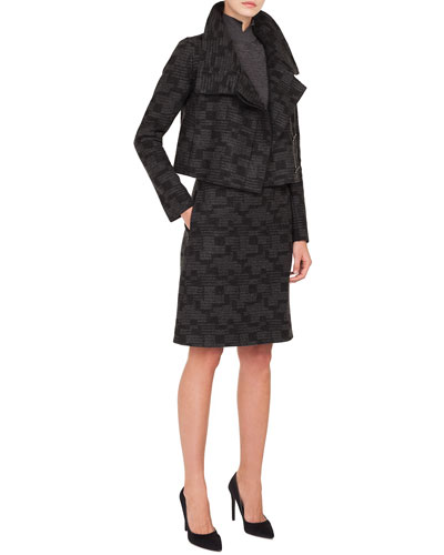 Rhode Island Funnel-Collar Printed Tweed Cashmere Short Jacket  and Matching Items