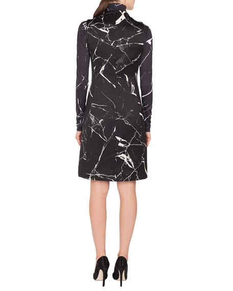 Turtleneck Long-Sleeve Marble-Tile Print Pullover Top