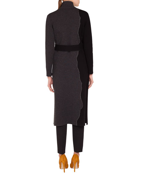 Reversible Self-Belt Bicolor Cashmere Coat