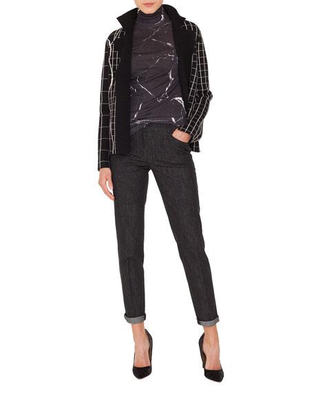 Mock-Neck Marble-Tiles Intarsia Knit Cashmere Jacket