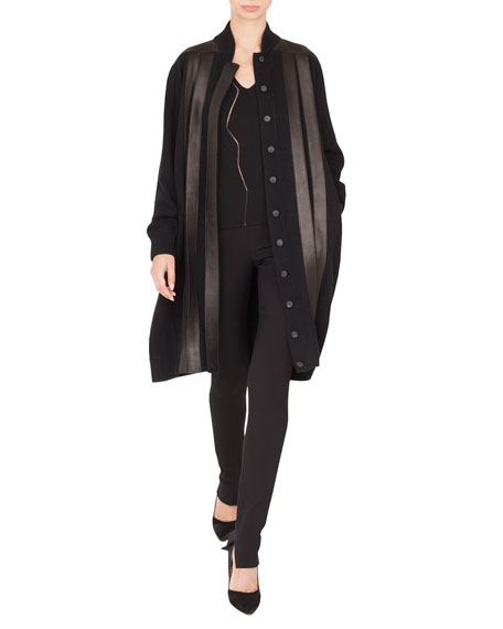 Button-Front Long-Sleeve Leather-Stripe Cashmere Long Cardigan