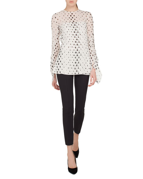 Jewel-Neck Draped-Sleeve Hotel Facade Print Silk Georgette Blouse
