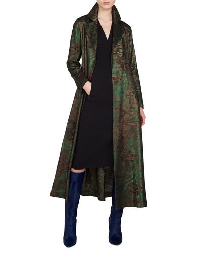 Metallic-Jacquard Belted Trench-Style Coat and Matching Items