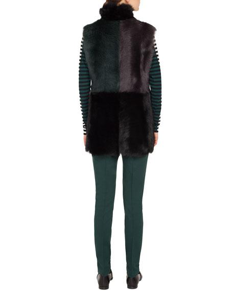 Long Colorblocked Toscana Lamb Fur Vest