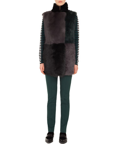 Long Colorblocked Toscana Lamb Fur Vest and Matching Items