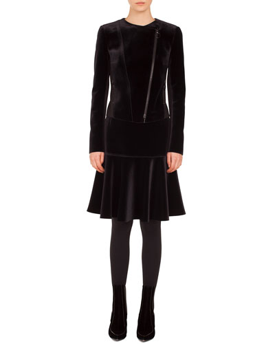 Asymmetric Zip-Front Velvet Front Jersey Back Moto Jacket and Matching Items