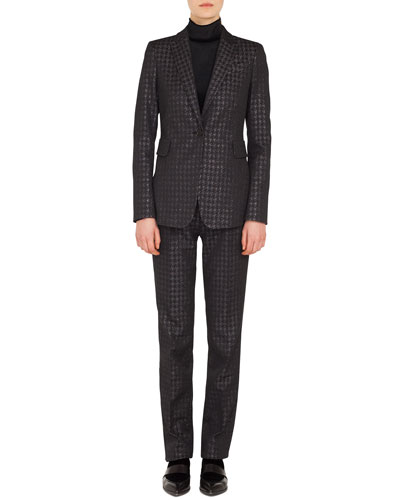 One-Button Metallic Houndstooth Blazer and Matching Items