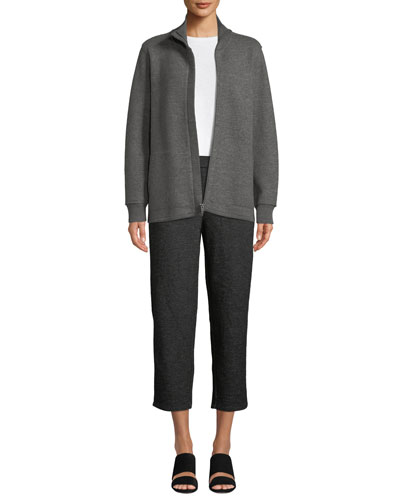 Boiled Wool High-Collar Zip-Front Jacket  and Matching Items