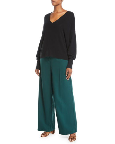 V-Neck Long-Sleeve Merino Wool Sweater and Matching Items