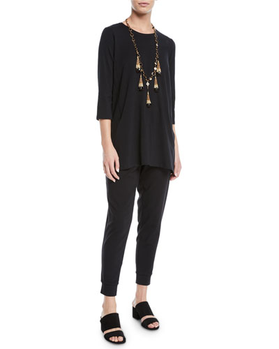3/4-Sleeve Organic Cotton Jersey Tunic with Pockets, Petite and Matching Items