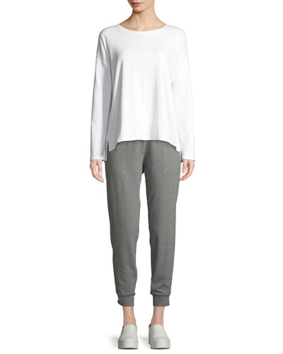 Ballet-Neck Long-Sleeve Cotton Interlock Top and Matching Items