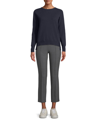 Crewneck Long-Sleeve 12-Gauge Cashmere Pullover Sweater w/ Step-Hem and Matching Items