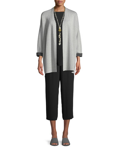 Optic Striped Silk/Cotton Cardigan  and Matching Items