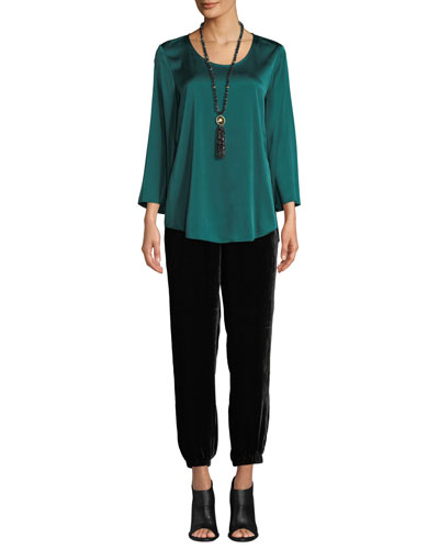 3/4-Sleeve Silk Charmeuse Blouse and Matching Items