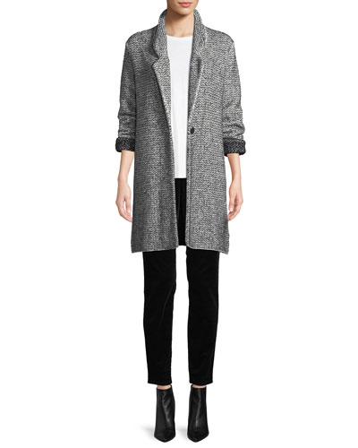 Cozy Notched-Collar One-Button Melange Cotton-Blend Long Jacket and Matching Items