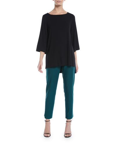 Viscose Jersey 3/4-Sleeve High-Low Top, Petite and Matching Items