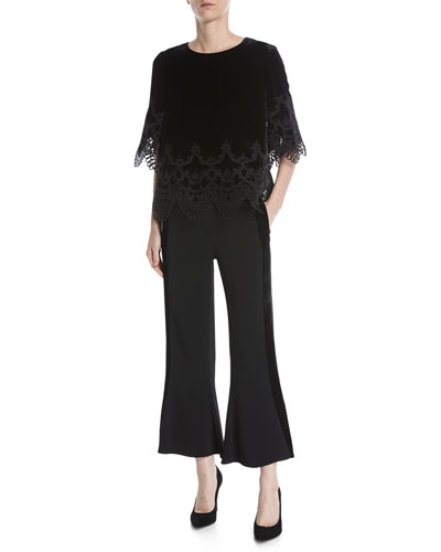 Meredith Lace-Trim Velvet Blouse and Matching Items