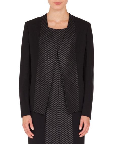 Rosalie Chevron Zip-Front Leather Short Jacket