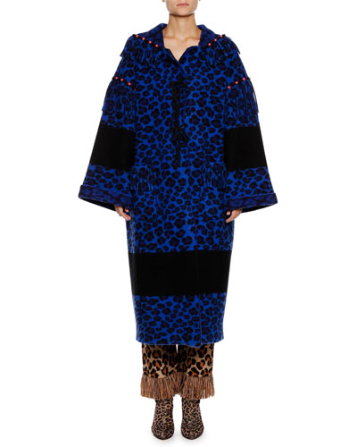 Leopard-Print Ankle-Length Wool Coat and Matching Items