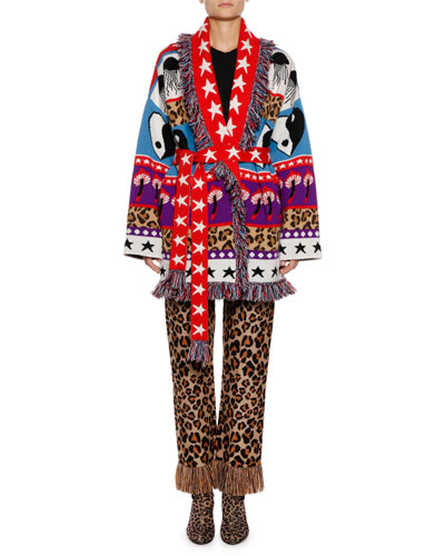 Psychedelic Mushrooms & Star Intarsia Cashmere-Blend Cardigan Sweater and Matching Items